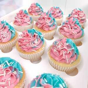 Gender Reveal Vanilla Sundae Cupcakes