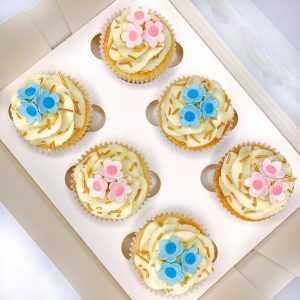 Gender Reveal Flower Cupcakes